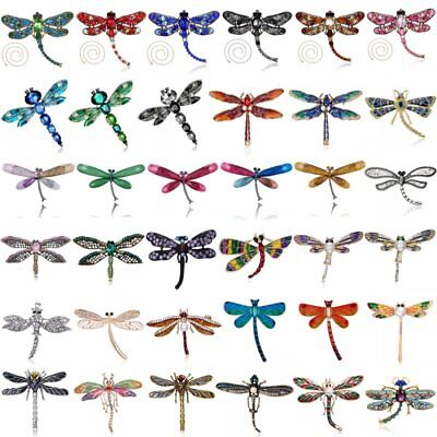 Women Crystal Pearl Animal Dragonfly Enamel Brooch Pin Custome Jewellery Party