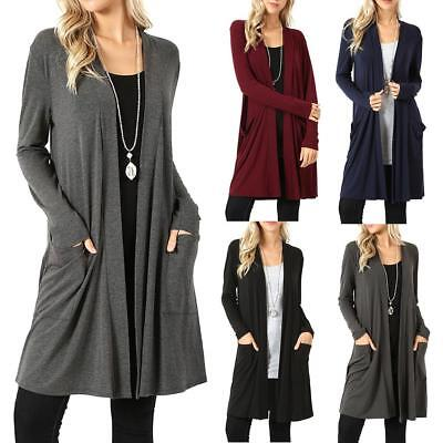 Women's Cardigan Duster Long Sweater Flyaway Open Front Long Sleeve Coat Jacket