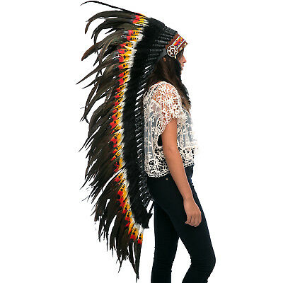 Extra Long Indian Inspired Headdress - ADJUSTABLE - DOUBLE FEATHER Multicolor