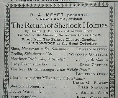 1924 Return of Sherlock Holmes touring STAGE programme Eille Norwood