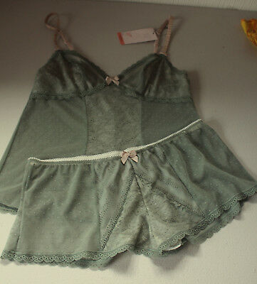 M&S Limited Lingerie Green Camisole Set -  Size 8 Camisole Size 12 Knickers
