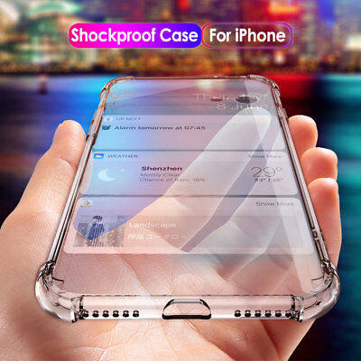 For iPhone XS Max XR X 8 Clear Shockproof Bumper Silicone Case Cover CA RR