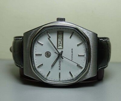 Vintage Rado Voyager Automatic Day Date Swiss Mens Wrist Watch H74 Old Used