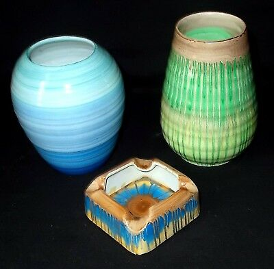 TWO Shelley DRIP WARE Vases and a Shelley Ash Tray