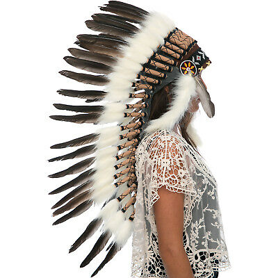 Long Feather Headdress- Native American Indian Style -ADJUSTABLE- Natural Black
