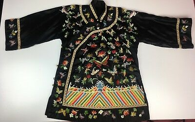 Antique Chinese Robe / Vintage Embroidered Coat / Chinese Silk Evening Coat