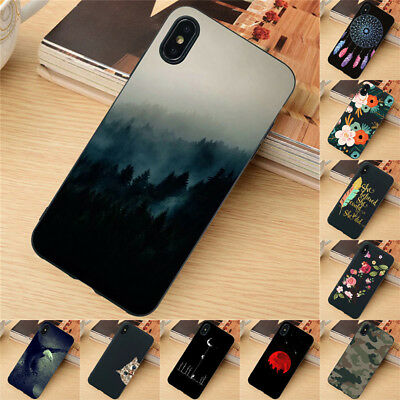 For iPhone X XR XS Max SE 6S 7 8 Plus Case Silicone Painted Slim TPU Back Cover
