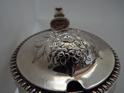 Mustard Pot Georgian Solid Sterling Silver Embossed Flowers GOOD c1820