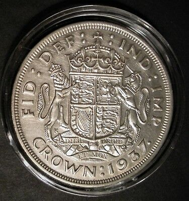 1937 British One Crown Silver Crown - United Kingdom - in capsule - near BU