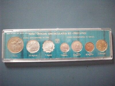 Israel - Rare Official Mint Set 1980 Year Transition From Lira To Sheqel