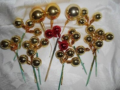 Lot of Vintage Gold & Some Red Mercury Glass Picks Christmas Ornaments