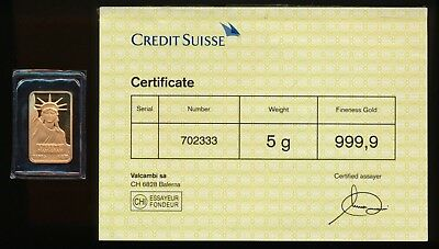 5 Grams .9999 Gold Credit Suisse Bar With Certificate > 99¢ Start & No Reserve