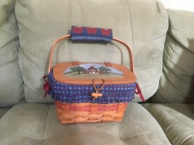 Retired 1991 Longaberger Picnic Basket With Apple Liner and Schoolhouse Painting