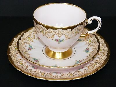 Vintage TUSCAN CHINA Pink Harlequin CABINET Tea Cup TRIO 6700H Gold Lace ENAMEL