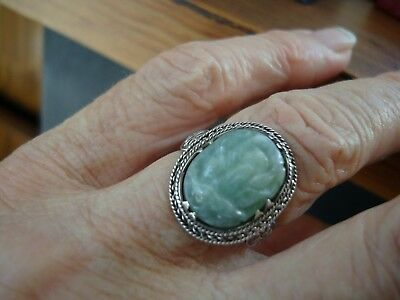 Chinese Vintage Carved Jade & Silver Ring
