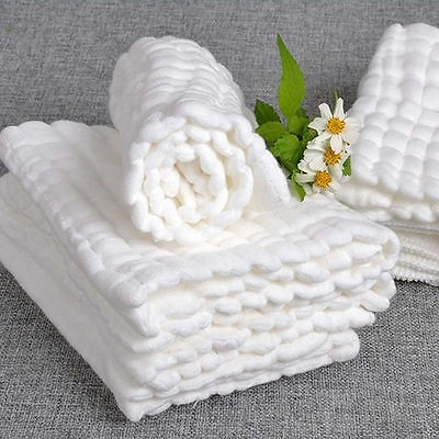 Soft Cotton Baby Infant Newborn Bath Towels Washcloth Feeding Wipe Cloths White