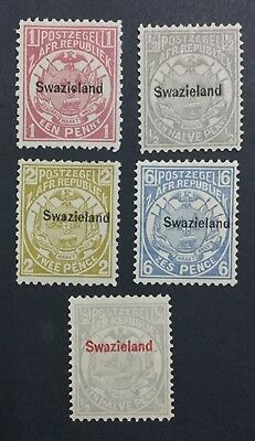 Momen: Swaziland #1,4,5,6,10 Mint Og H £120 Lot #6194