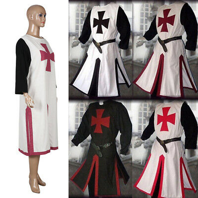 Medieval Templar Knight Crusader Surcoat Tunic Reenactment Party Cosplay Costume