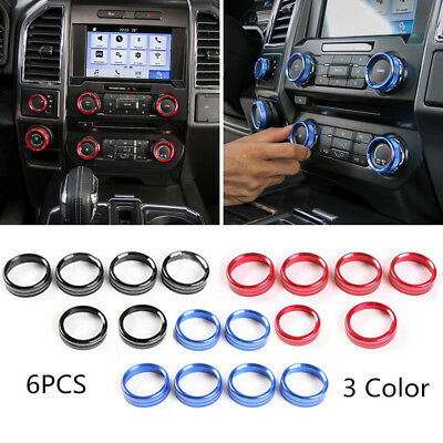 HOT 6pcs RED Air Condition Cover Trim For Ford F150-XLT 2016-17 Switch Knob auto