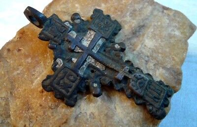 "RARE 17-19th CENTURY LARGE ORTHODOX ""OLD BELIEVERS"" ORNATE ""SUN"" CROSS w/ ENAMEL"