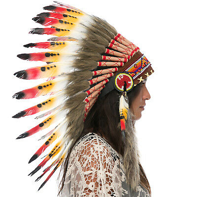 Feather Headdress- Native American Indian Style -ADJUSTABLE- Multicolor Duck