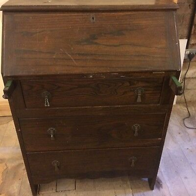 Wooden Old Writing Bureau Desk Chest Of Drawers
