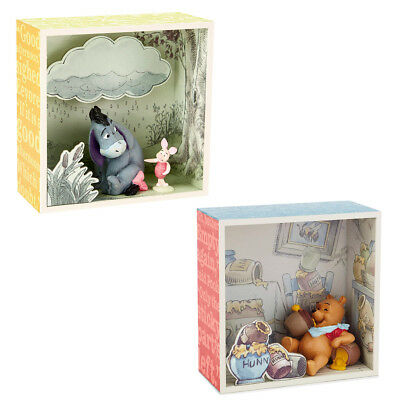 Hallmark 2pc Disney Winnie the Pooh Shadow Box Figurine Sets Piglet & Eeyore