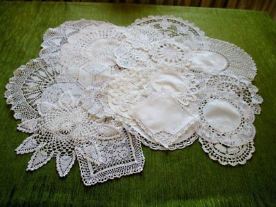 Vintage Mats Hand Crochet & Lace-Col.of 20 - White