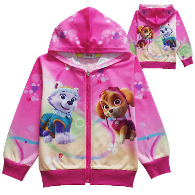 New Girls Pink Paw Patrol Pocket Zip-Up Hoodie Jacket Sweatshirt K56