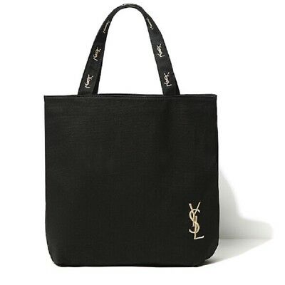 Yves Saint Laurent YSL Shopping Tote Bag Canvas Logo Black Eco-Friendly NEW