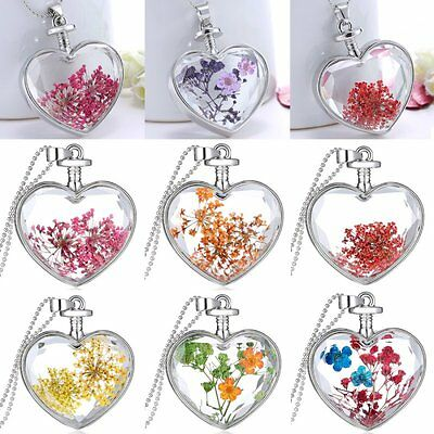Heart Glass Locket Pendant Natural Dried Pressed Flower Chain Woman's Necklace
