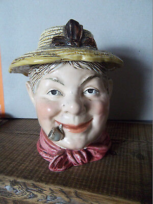 Ancien pot tabac barbotine homme chapeau pipe