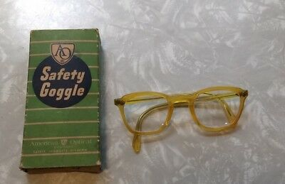 Vtg 1960s? American Optical Safety Glasses In Original Box VG Condition