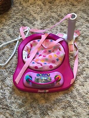 Girls Pink Evenflo Doorway Jumper with Lights and Sounds, Detachable Toy