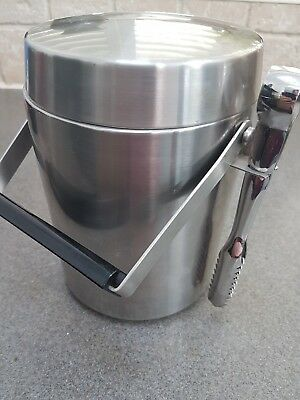 Vintage Retro 1960s Camel Stainless Steel Lidded Ice Bucket Tongs Cocktail Bar