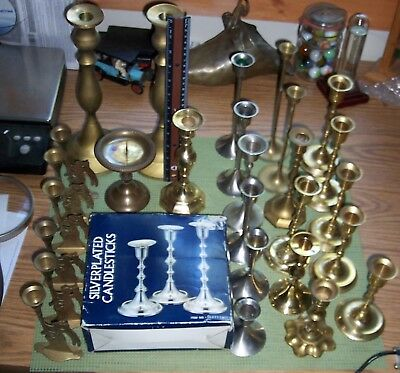 Large Lot Of 30 Vintage Brass Candle Stick/holders For Weddings, Etc