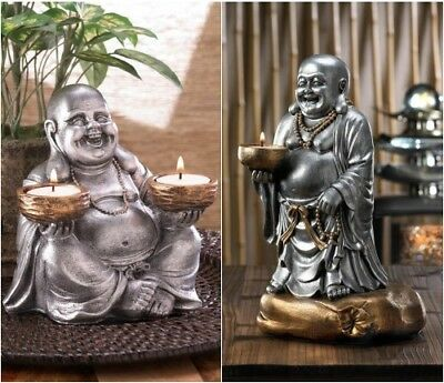 Set of 2 Smiling Zen Buddha candle holder Figurines W/ Silver and Bronze Finish