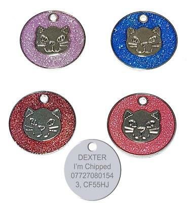 Personalised Engraved 25mm Round Pet Cat Glitter Luggage ID Identity Tag Disc