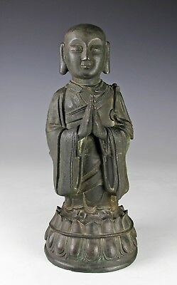 Large Antique Ming Dynasty Chinese Bronze Statue Of Standing Figure