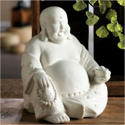Stunning Handcrafted Antiqued Smiling Buddha Figurine