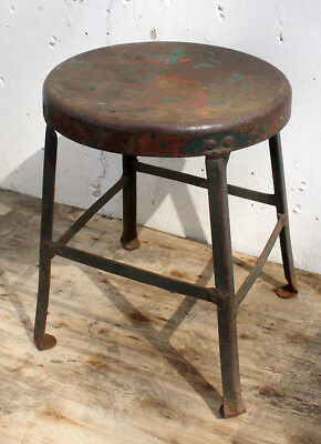 """16""""H Distressed Antique Vintage Metal Steel Industrial Factory Stool Stand Chair"""