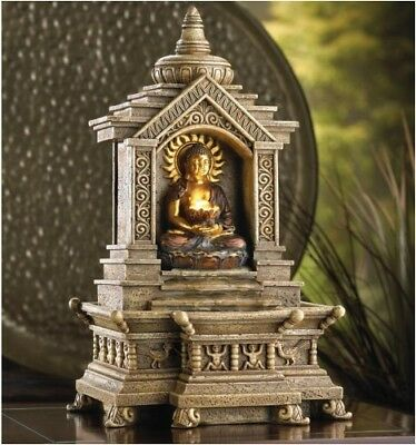 Zen Buddha in Temple Tabletop Water Fountain W/ Stunning Carved Detail and Pump