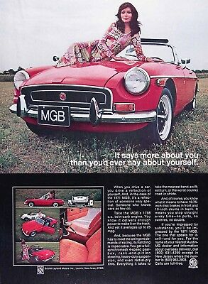1971 MGB Lot of (2) Genuine Vintage Ads ~ 1798cc Twin Carb Engine