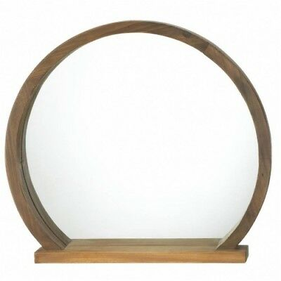 """16"""" Round Country Rustic Two-Tone Wooden Wall Mirror With Shelf -Home Decor"""