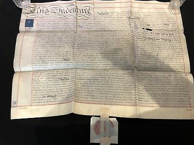 RARE Antique Indenture With Very Large Red Wax Seal Attached Dated 1856 (19)