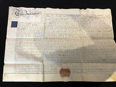 RARE George IV Indenture With Very Large Round Red Wax Seal  (14)