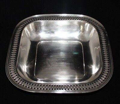 Antique 1900 International Sterling Silver Co Pierced Soft Square Dish Bowl 275g