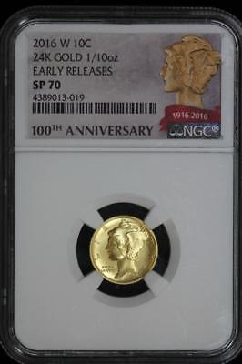 2016 W Gold Mercury Dime NGC SP70 ER 100th Anniversary US Mint 10c Coin