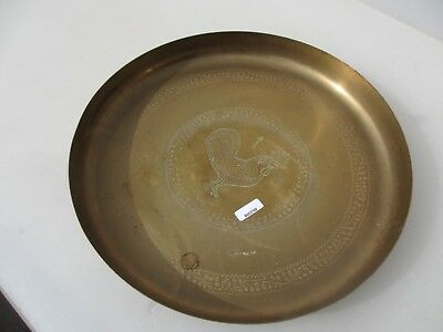 Vintage Brass Tray Trays Arabic Middle Eastern Asian Plaque Old Etched Leaves Bi