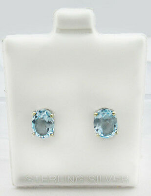 GENUINE 2.13 Cts AQUAMARINE STUD EARRINGS .925 Sterling Silver * New With Tag *